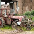 Old massey ferguson 35 derelict with beet hoe on front